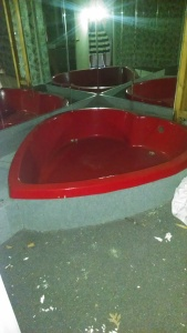 One of the many heart-shaped tubs