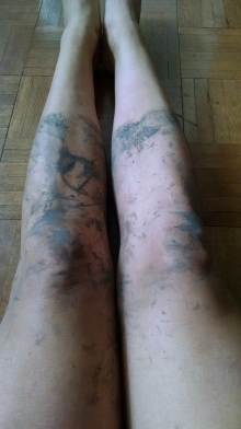 The muddy aftermath, including clean boot lines. I wish I took a photo of my boots.