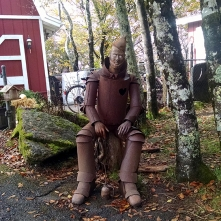 The ominious tin man guarding the front of Dorothy's house.