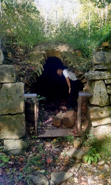 To give you an idea of their size - my trip's companion poking around inside a coke oven. Nothing of interest inside, unfortunately.
