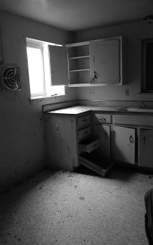 Inside of the houese were empty save for some 1950s kitchen remnants