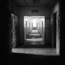Each floor of Building 93 looked the same - hallways leading to the east and west wing dormitories.