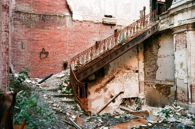 What's left of the grand staircase in Memorial Hall.