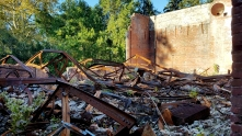 And what remains of the roof of Memorial Hall.